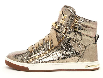 Michael Kors City Sneaker Logo Jacquard Tennis Shoes Bronze